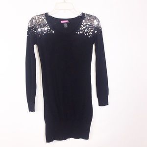 Say What? Black Knit Tunic Sweater Size Small